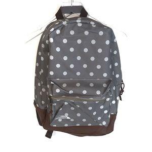 NWOT Grey polka dot and brown backpack